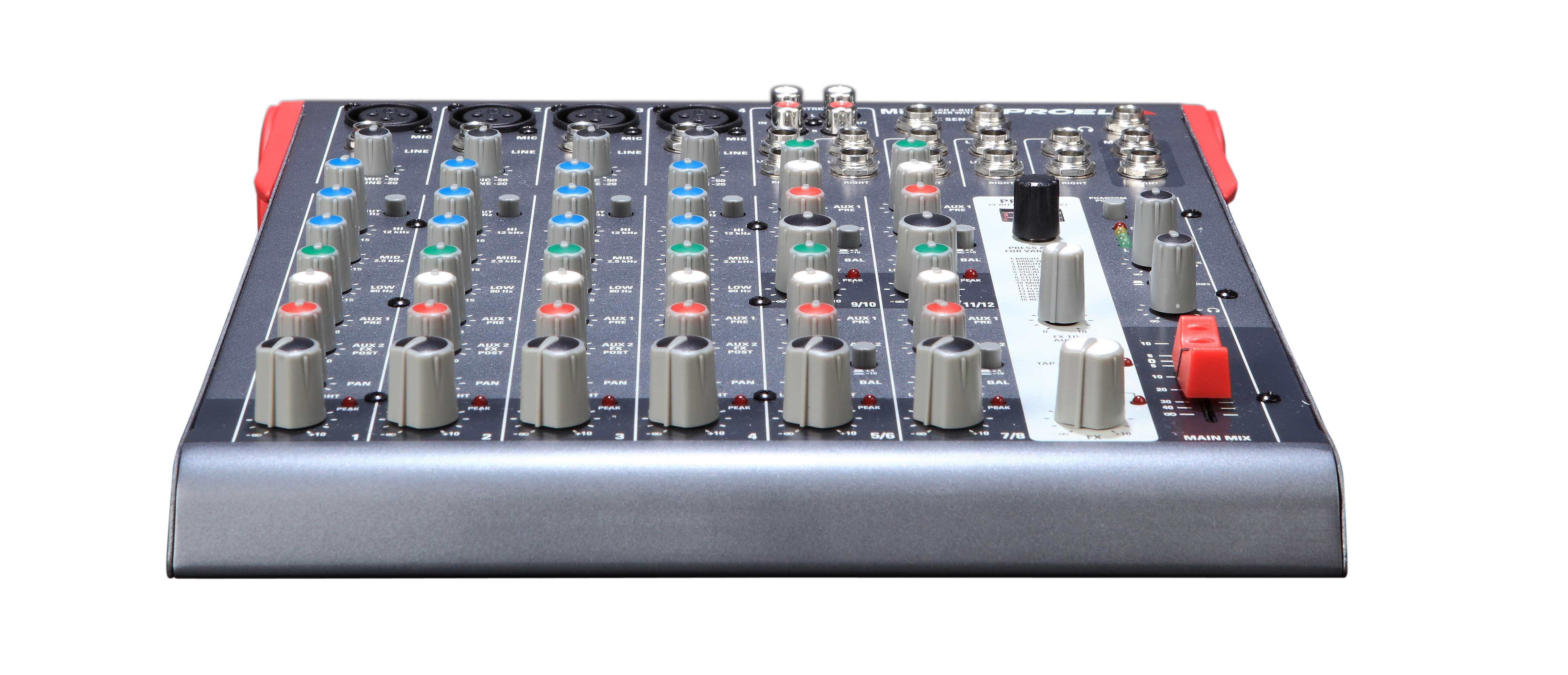 Uitlopend - Proel Mixer 4mic/Line. 4st. Line inputs. 2Aux sends 2track out. 24bit effect Bal.Main mix out.